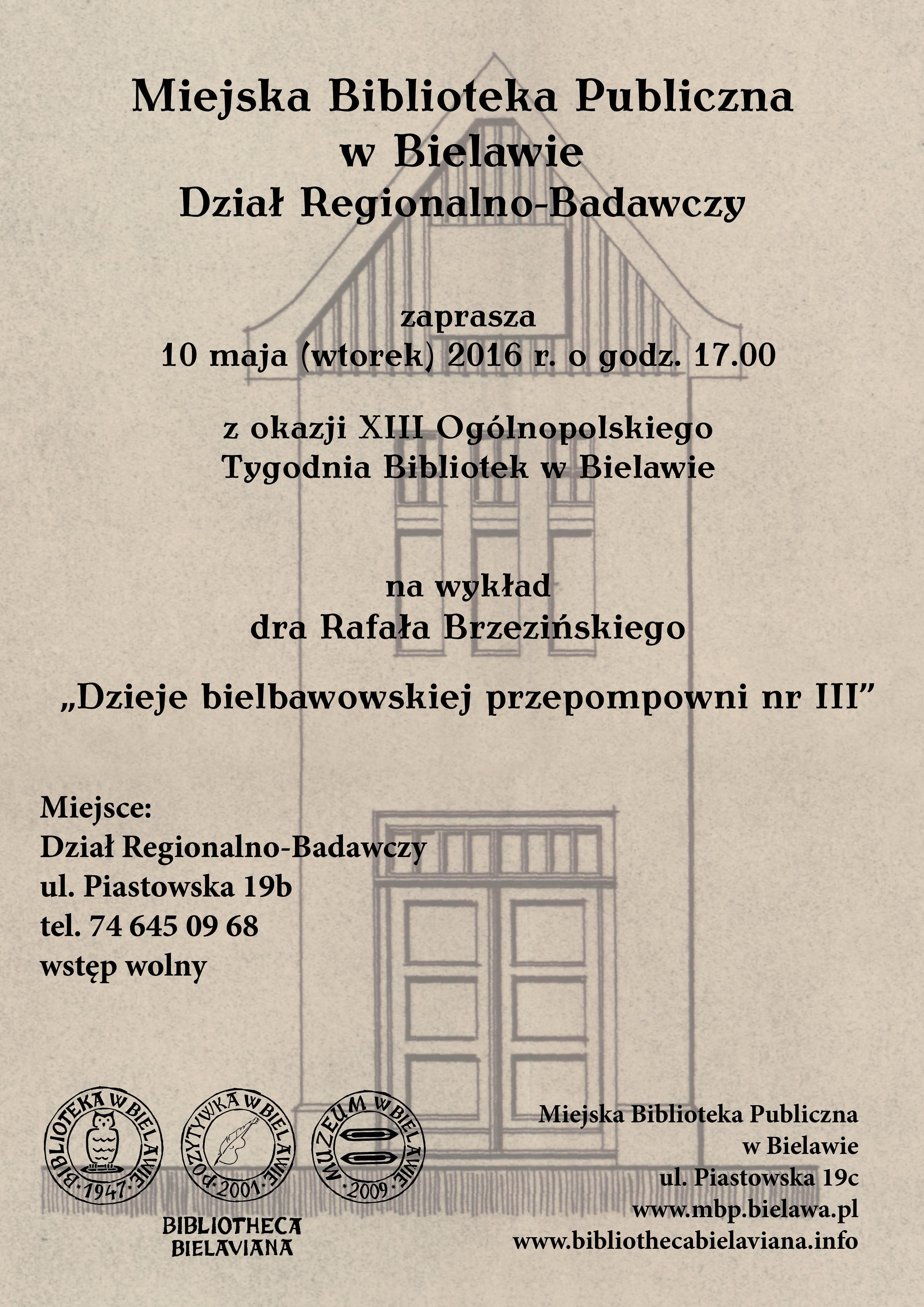 Wykład dr Rafał Brzeziński Bielawa BIbliotheca Bielaviana
